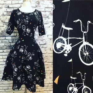 Lularoe B&W Bicycle Bike Retro Fit Flare Dress XL